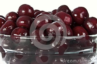 Cherries in glass plate