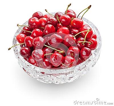 Free Cherries In Crystal Bowl Stock Image - 9909551