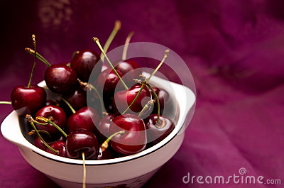 Cherries on red