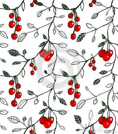 Cherry Berry Seamless Pattern Illustration