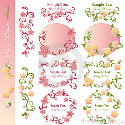Cherry blossoms design elements