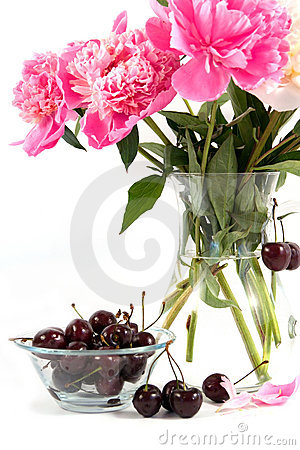 Cherry and bouquet of flowers