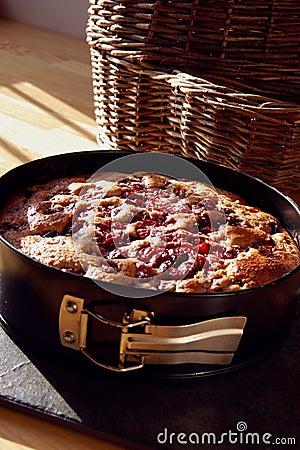 Cherry Cake in a baking tin