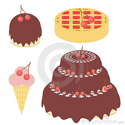 Cherry cake, pie and ice cream