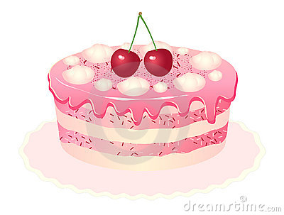 Cherry cake white background