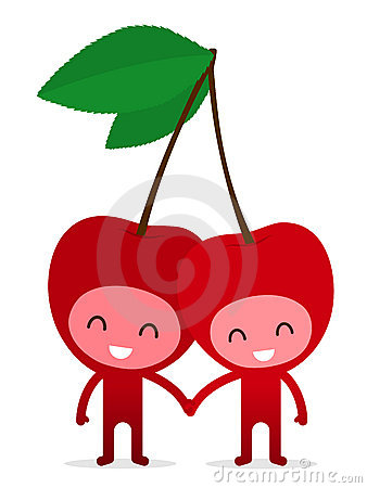 Cherry couple holding hands