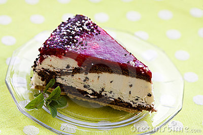 Cherry Cream Tart with Mint