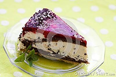 Cherry Cream Tart with Mint