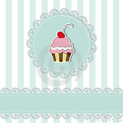 Cherry cupcake invitation card