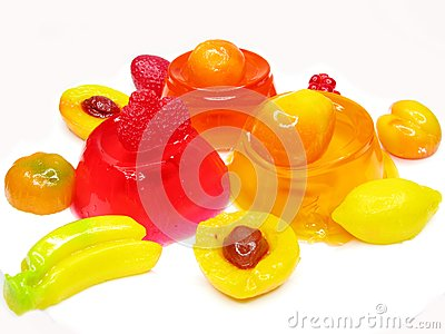 Cherry dessert with pudding and jelly fruits