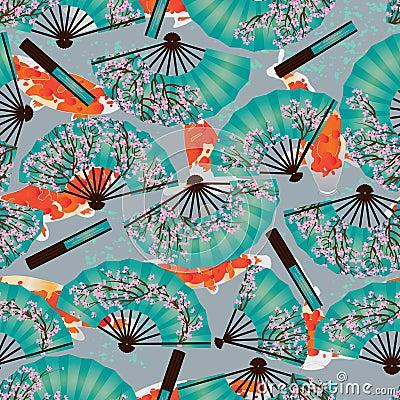 Free Cherry Fan Koi Origami Seamless Pattern Stock Image - 69987491