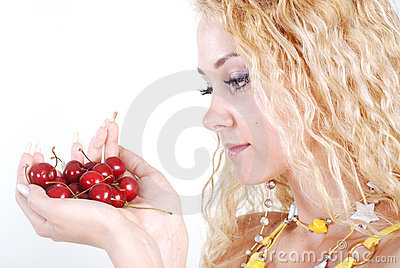 Cherry in hands