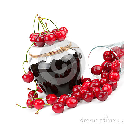 Cherry jam and cherry fruit