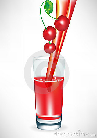 Cherry juice pouring in glass