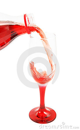 Cherry juice pouring isolated