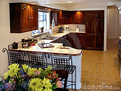 Cherry kitchen with counter