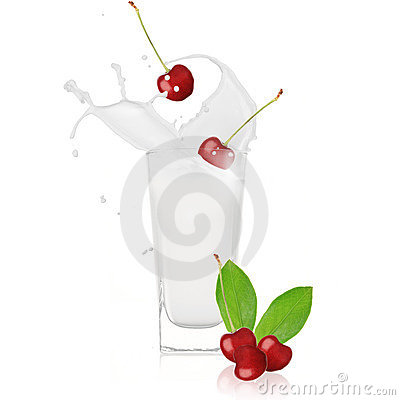 Cherry with milk splash