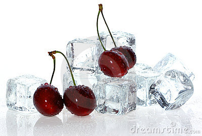 Cherry over ice cubes.