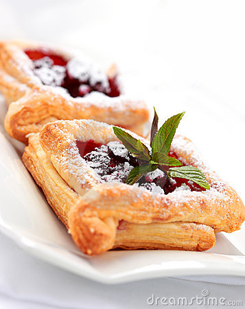 Cherry puff pastry Stock Photo