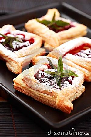 Cherry puff pastry Stock Photo