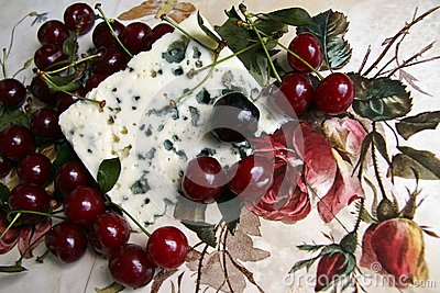 Cherry and roquefort cheese