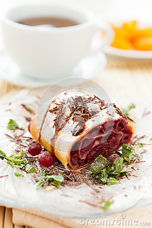 Free Cherry Strudel With Chocolate And A Cup Of Tea Royalty Free Stock Photography - 28197797