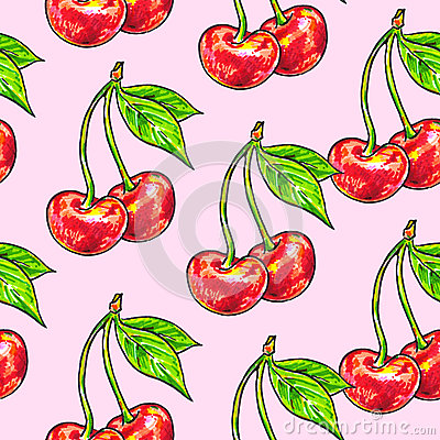 Free Cherry Sweet On A Pink Background. Seamless Pattern For Design. Animation Illustrations. Handwork Royalty Free Stock Images - 67762069