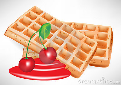 Cherry syrup and belgian waffle