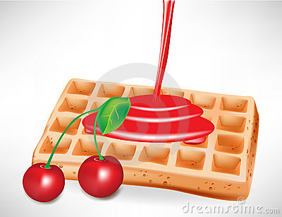 Cherry syrup over belgian waffle