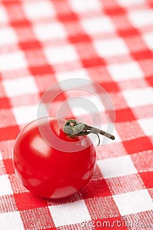 Cherry tomato on checkered tablecloth