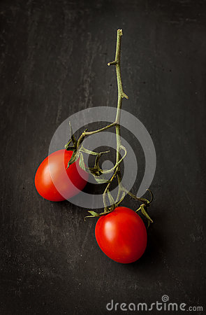 Free Cherry Tomatoes Branch Close Up (macro) On Black Stock Photography - 50808712