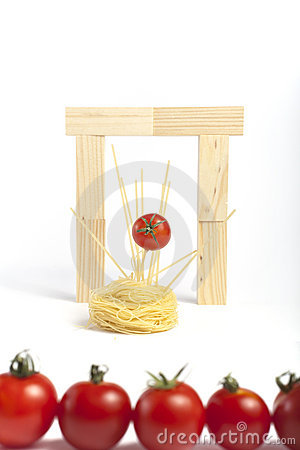 Cherry tomatoes in music idol.Spagheti.