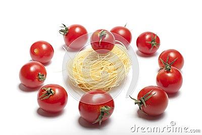Cherry tomatoes.Pasta