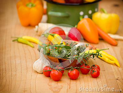 Cherry tomatoes, spices and herbs