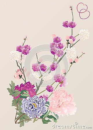 Free Cherry Tree Flowers And Peony Royalty Free Stock Photos - 7553698