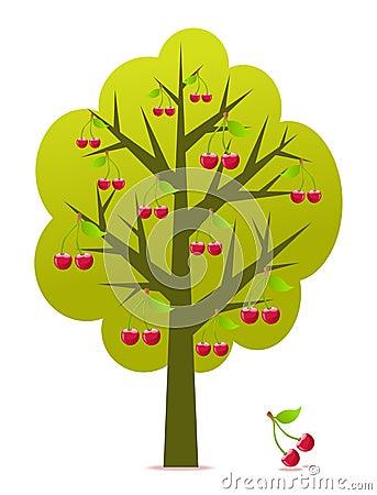 Cherry tree vector Vector Illustration