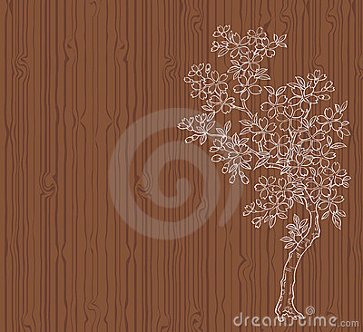 Cherry tree on wood