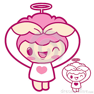 Cherub Mascot gesture of love in To the right toward. Angel Char