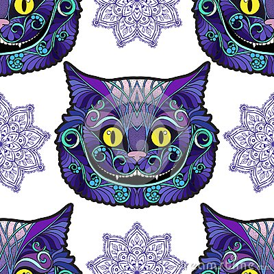 Cheshire cat head from the fairy tale Alice in Wonderland . Vector Illustration