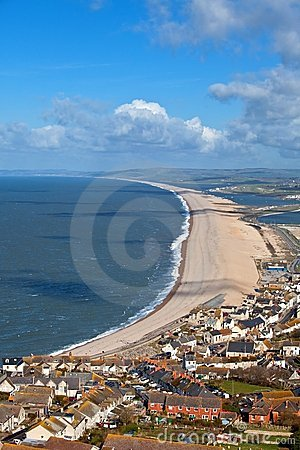 Chesil beach in Weymouth Dorset England
