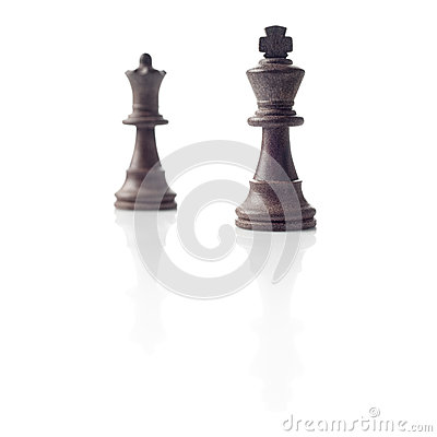 Chess. Black King and Queen, leadership concept