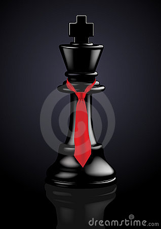 Chess Black King with a tie