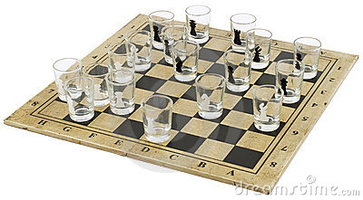Chess-board with  Glass Chess-men;