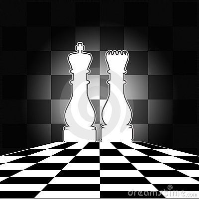 Chess Board with King & Queen