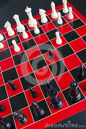 Chess Game Pieces Board Red White Black Background