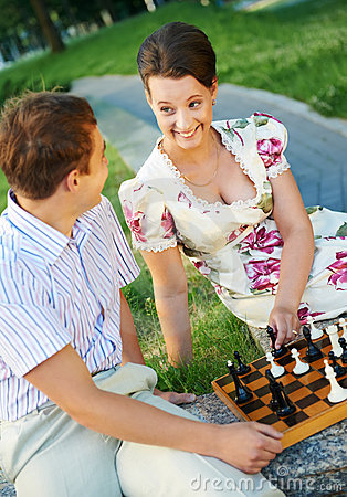 Chess game outdoors