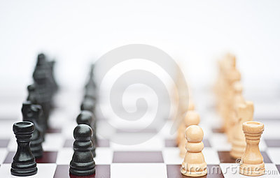 Chess game of strategy business concept