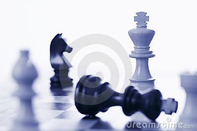 Chess game white king defeating black king