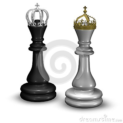 Chess King And Queen Figures With Crowns Isolated On White