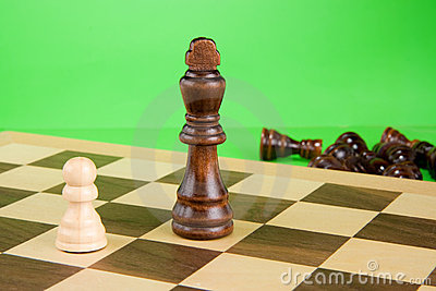 Chess piece on green background